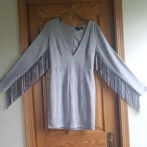 Lulu's Still Wild Grey Suede Fringe Dress